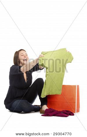 Shopaholic Young Woman Happy With The Discounts