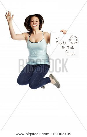 Happy Young Female Jumping Over White Background - Fun In The Sun