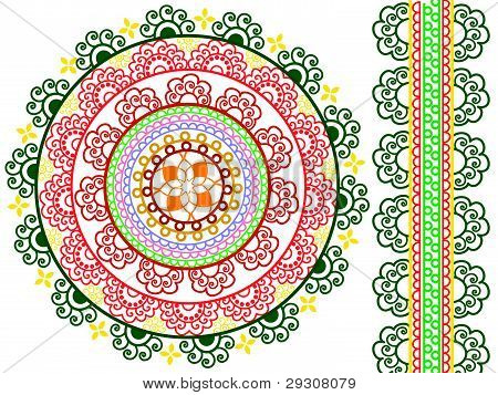 Colorful Henna Mandala design