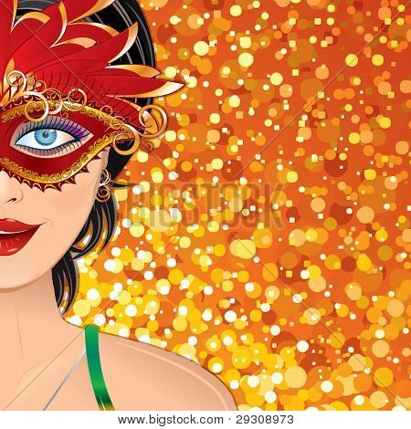 Festive Carnival Background with Beauty Girl with Mask. Colorful Vector Illustration with Copy space