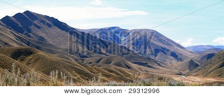 Panorama of Dry Mountain Range Landscape at Lindis Pass, the highest highway, in NewZealand