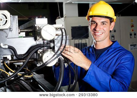 modern industrial machine operator at work