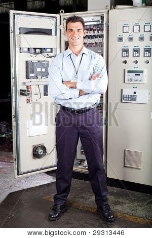 full length portrait of modern factory technical worker