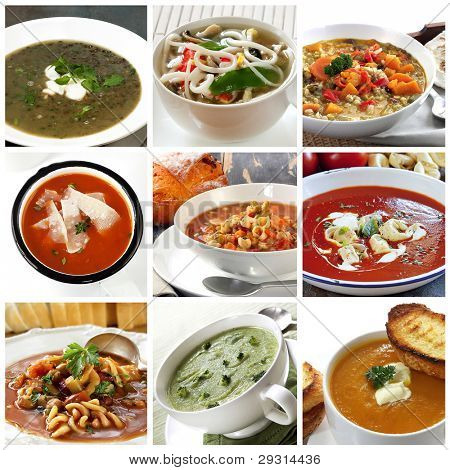 Collage of different soups.  Includes lentil, Asian noodle, vegetable, tomato, minestrone, broccoli, and pumpkin.