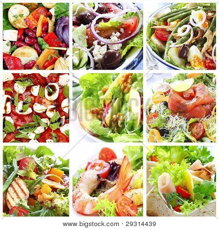 Collage of healthy salads.  Includes caprese, Greek, Waldorf, shrimp, smoked salmon, Nicoise, chicken, and garden salads.