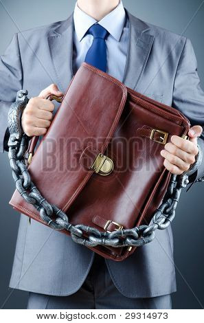 Arrested businessman in crime concept