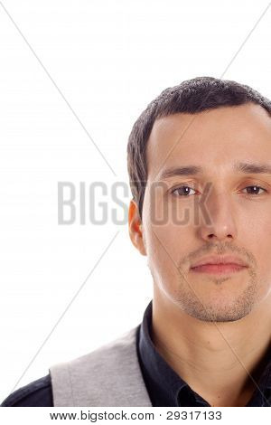 young beauty guy on a white background