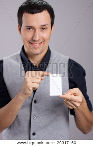 man with visiting card