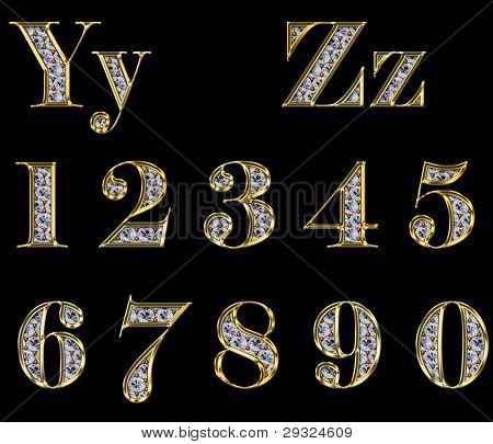 Golden Alphabet With Diamonds