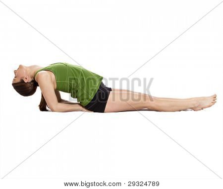 woman doing yoga, fish position, clipping path