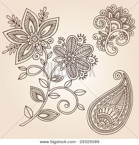 Henna Mehndi Flower Doodles Abstract Floral Paisley Design Elements Vector Illustration