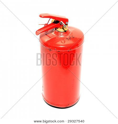 red extinguisher on white background