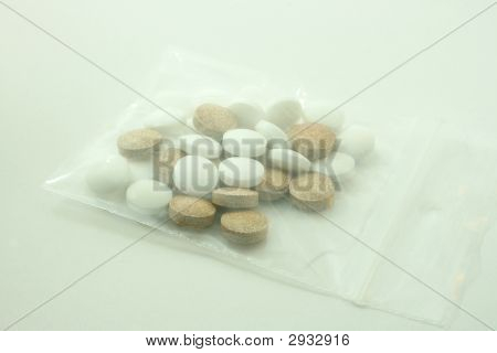 Brown And With Pills In Bag