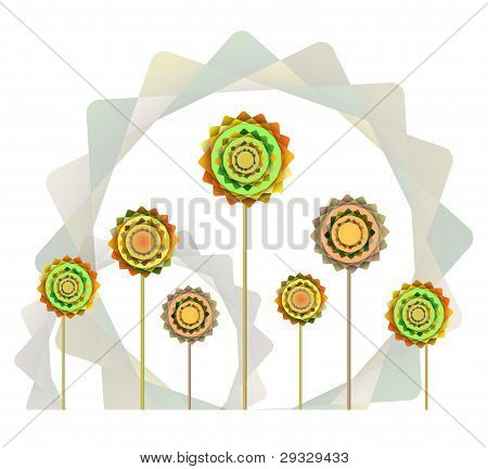 Geometric Orange And Green  Flowers  Background