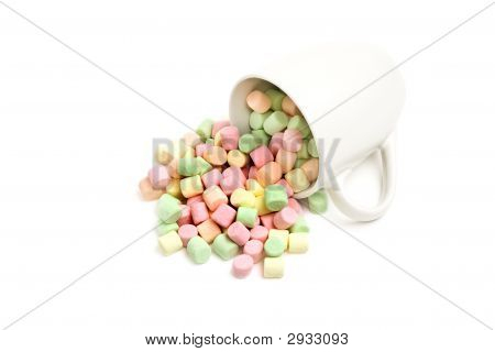 Marshmallows And Cup Isolated