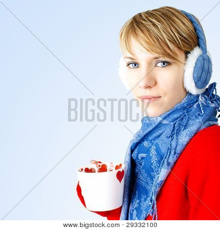 Girl Holds Cup Of Hot Chocolate