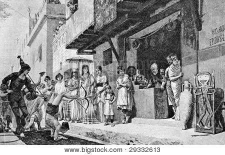 Street theater in ancient Rome. Engraving by Fryugauf from picture by painter Chifoni. Published in magazine
