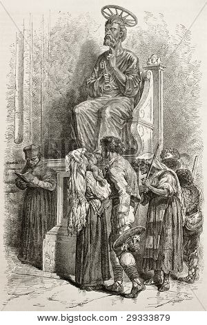 Devouts kissing Saint Peter's statue feet. Created by Neuville after Delaunay, published on Le Tour du Monde, Paris, 1867