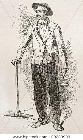 Pickaxe coal mine workman. Created by Neuville after Bonhomme, published on Le Tour du Monde, Paris, 1867
