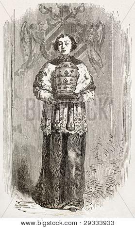 Altar boy bringing mitre. Created by Neuville, published on Le Tour du Monde, Paris, 1867