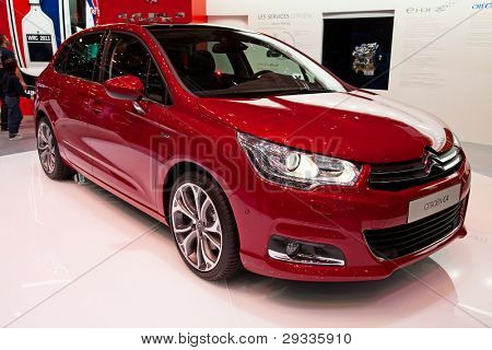 GENEVA - MARCH 8: The Citroen C4 on display at the 81st International Motor Show Palexpo-Geneva on March 8; 2011  in Geneva, Switzerland.