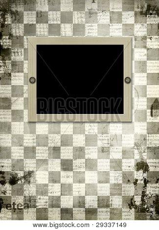 Marco de grunge de viejos papeles en el fondo de ajedrez Resumen