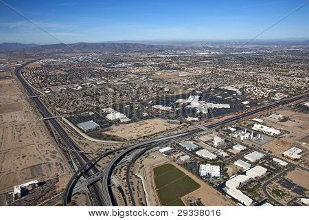Aerial View Of Chandler, Tempe And Phoenix, Arizona