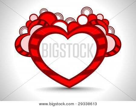 Decorative heart shape in red color with copy space on white isolated background  for Valentines Day and other occasions.
