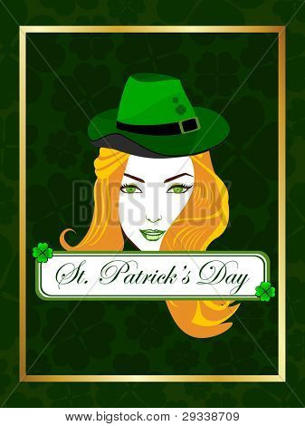 Vector illustration of a beautiful girl wearing a hat on the batch of St. Patrick's Day.