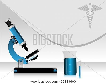 Vector illustration of a medical high tech science abstract background, with microscope, beaker, medical symbol