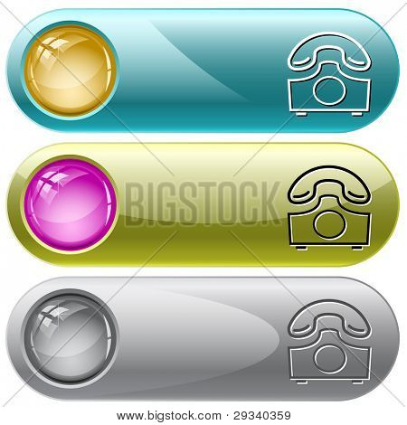 Old phone. Internet buttons. Raster illustration. Vector version is in my portfolio.
