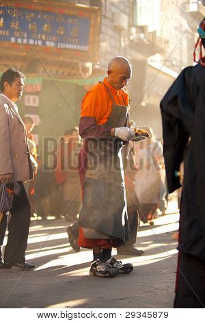 Tibetan Male Prostrator Lhasa Morning