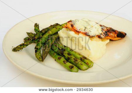 Asparagus, Salmon, Mashed Potatoes