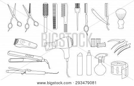 poster of Hairdressing Equipment And Accessories.  Design Elements Of Beauty Salons And Hair Salons.  Isolated