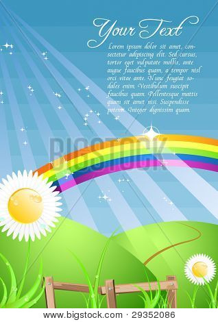 colorful bright rainbow A4 illustration