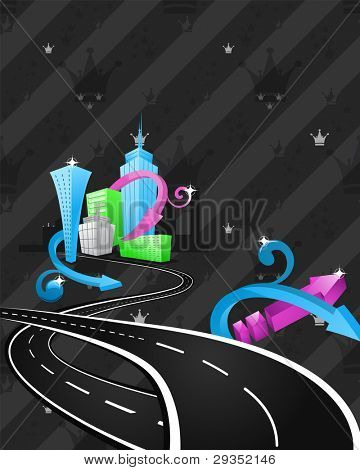 abstract cartoon city artwork