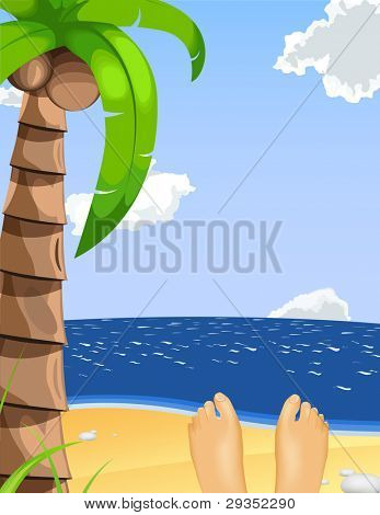 summer vacation illustration. Person lying on the beach enjoying the sunny day.