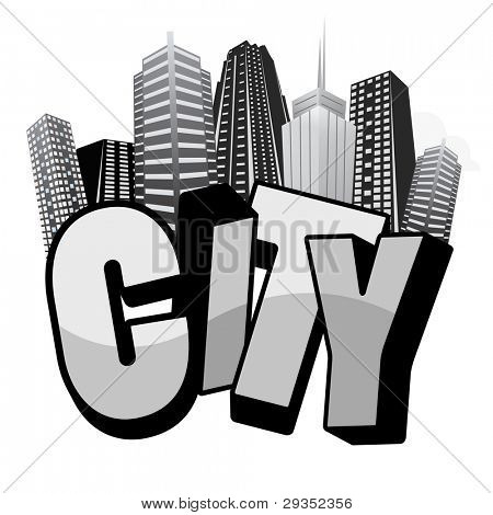 City typography composition with skyscrapers. Suitable as cloth print.