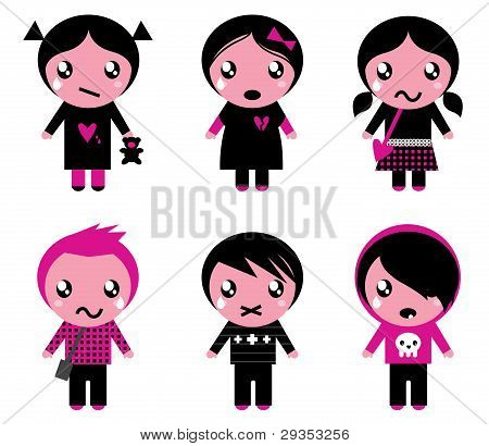 Cute Emo Kids Collection Isolated On White