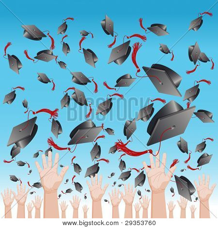 An image of a graduation day cap tossing ceremony.