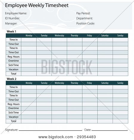 An image of a employee timesheet template.