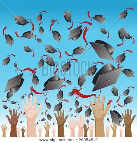 An image of a diversity graduation day cap tossing ceremony.