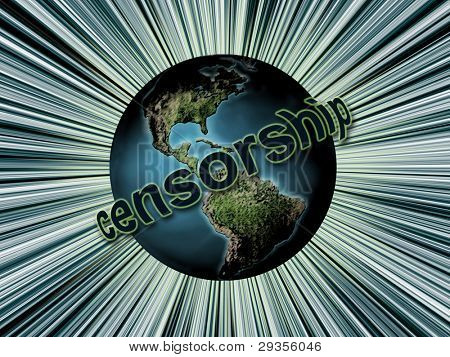 Planet Earth surrounded by Censorship word as Global Censorship concept