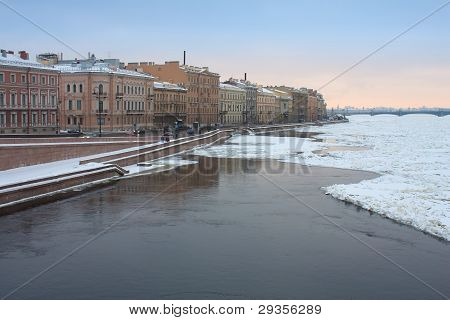 Kutuzov Embankment And Frozen Neva River, St. Petersburg, Russia