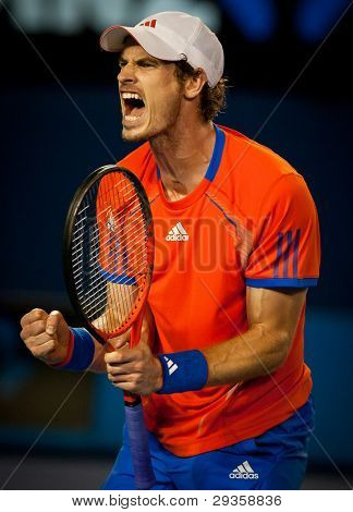 MELBOURNE - JANUARY 27: Andy Murray of Great Britain in his semi finall loss to Novak Djokovic of Serbia at the 2012 Australian Open on January 27, 2012 in Melbourne, Australia.