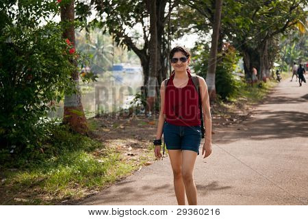 Indian young girl enjoying walking