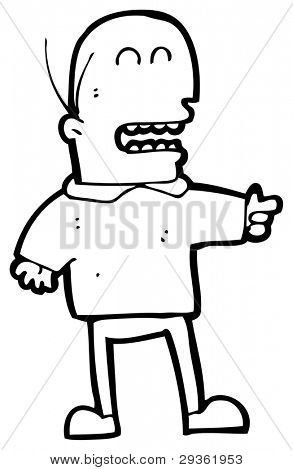 Mann zeigen und lachen Cartoon (Raster-Version)