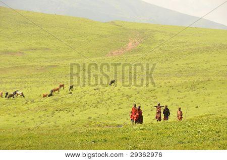 OLDUVAI GORGE, TANZANIA, DECEMBER 23, 2011, YOUNG MAASAI SHEPHERDS