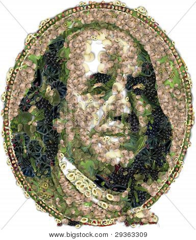 Franklin Benjamin Portrait Cutout. Vegitables