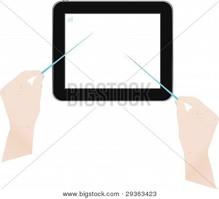 Touch screen tablet pc computer with man hands